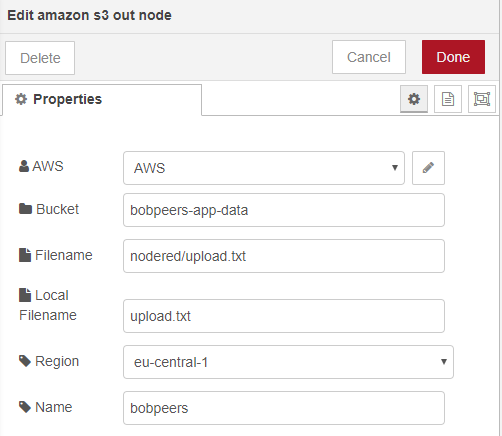 Amazon S3 Out Configuration
