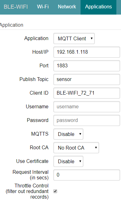 Gateway Application Configuration for MQTT
