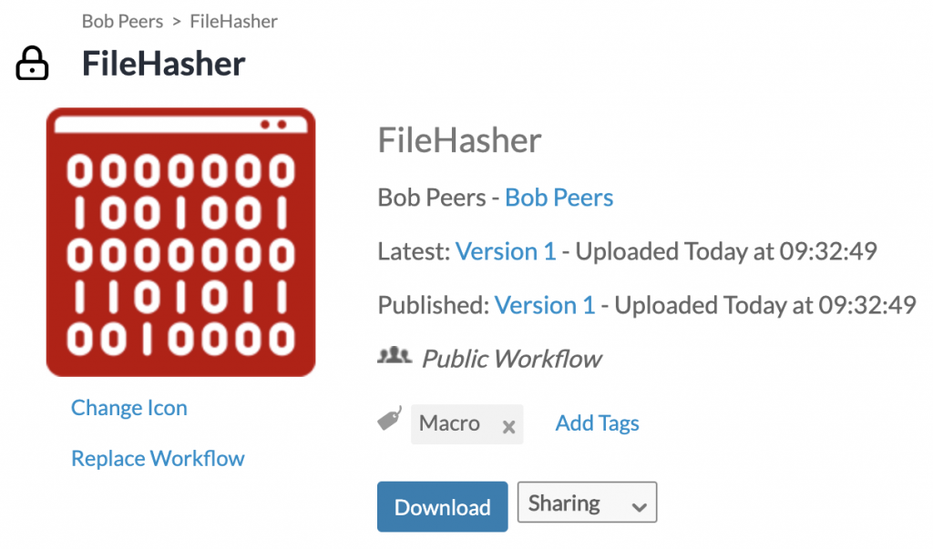 Alteryx Gallery FileHasher
