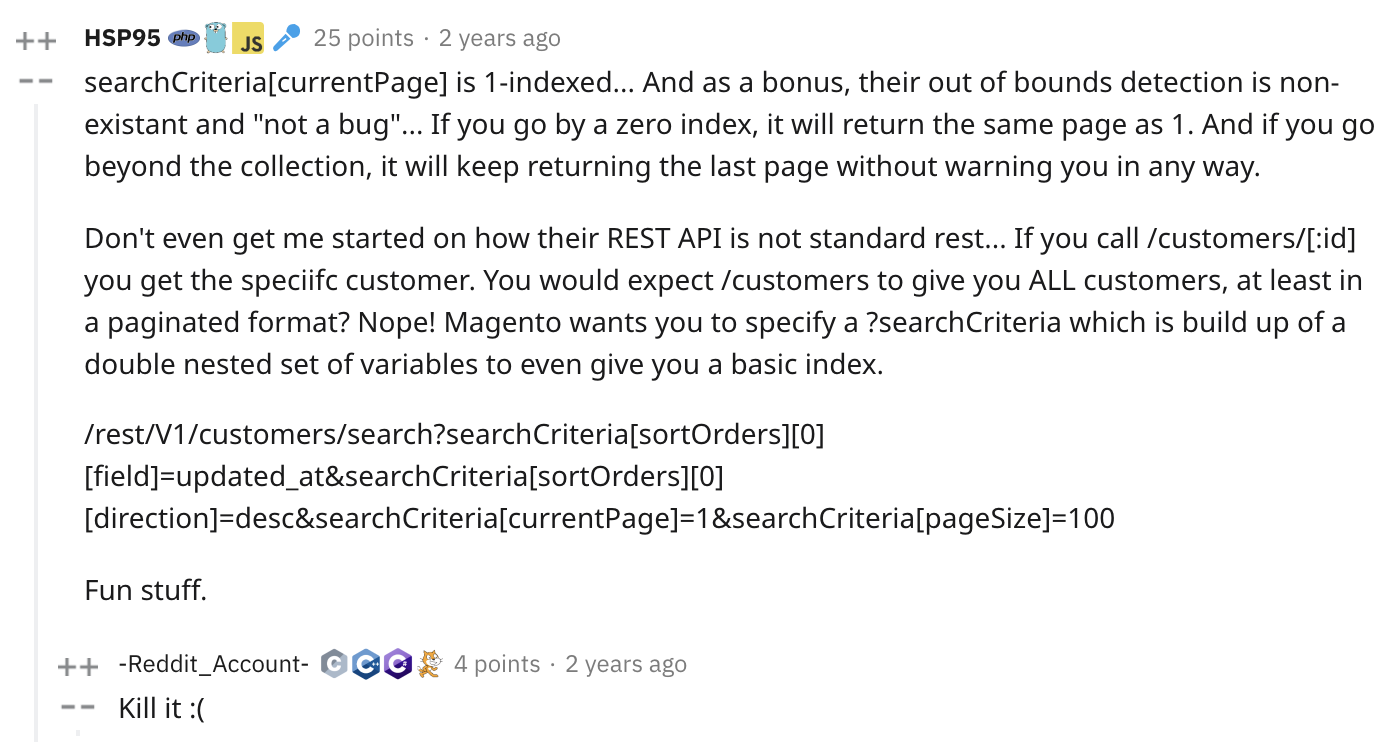 Reddit comment on Magento API